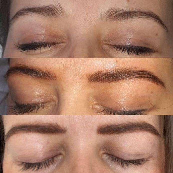 L'évolution des sourcils: avant le traitement, après la première séance et juste après la retouche (résultat définitif sans mascara grâce au rehaussement des cils à la kératine)