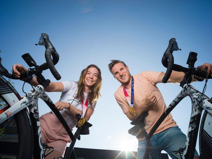 Shanne Braspennincx en Jeffrey Hoogland wonnen beiden goud op de Spelen: zij op keirin, hij op de teamsprint.