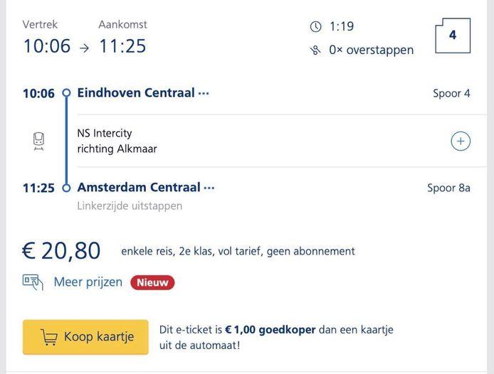 Een enkeltje van Eindhoven Centraal naar Amsterdam Centraal kost 20,80 euro.