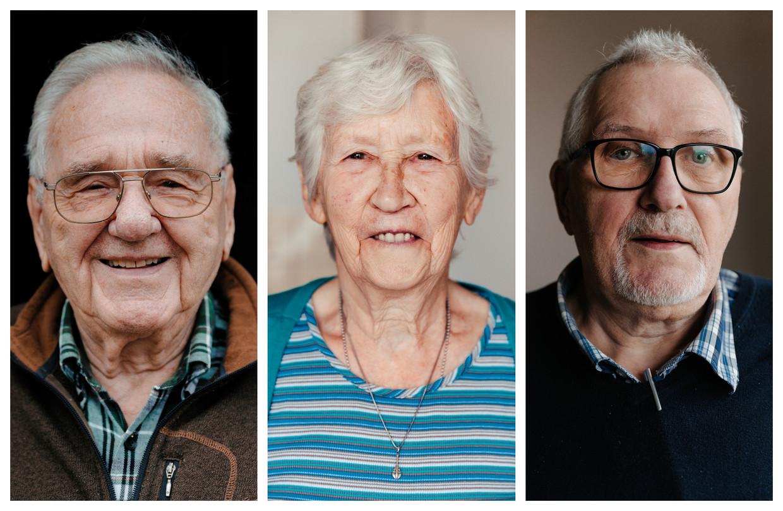 Sylvain De Clerck (90), Elka Joris (84) en Rudy De Jonghe (69). Beeld Damon De Backer
