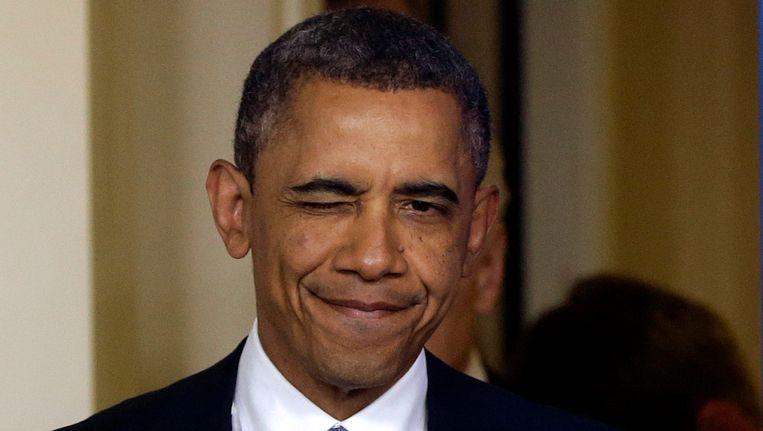 President Barack Obama begint zijn speech met een knipoog. Beeld AP