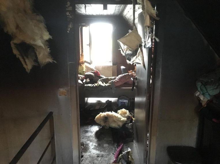 De schade op de bovenverdieping is groot.