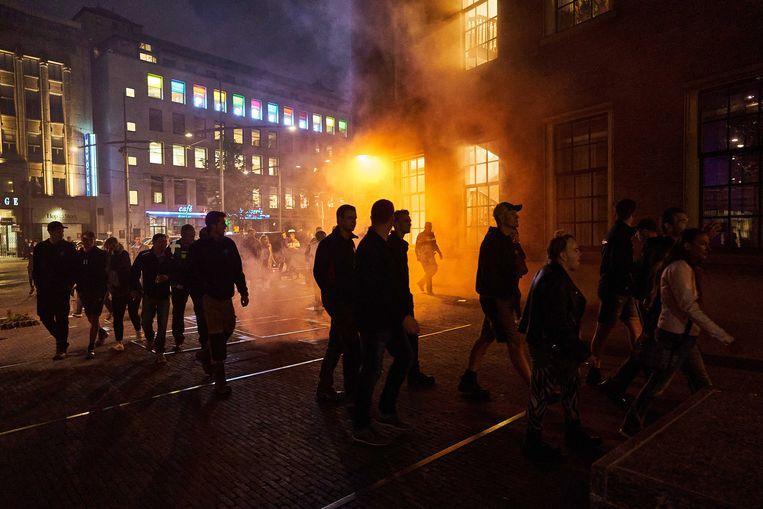 Nederlandse boeren protesteren bij het Binnenhof in Den Haag.  Beeld ANP
