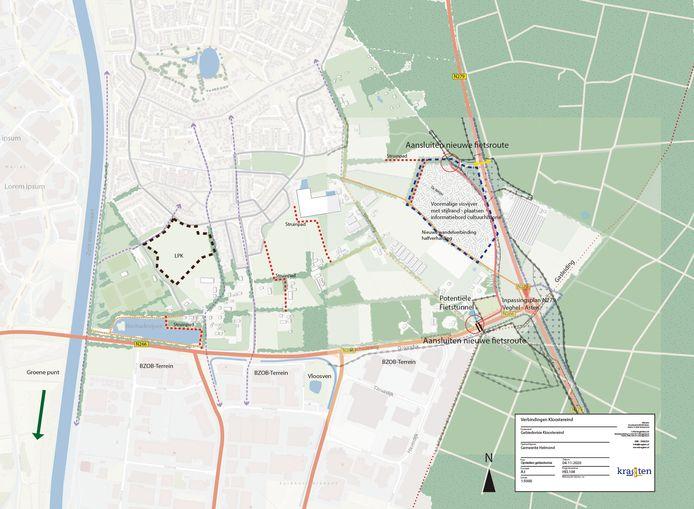 De nieuwe wandel- en fietsverbindingen in het plangebied van Landschapspark Kloostereind in Helmond-Brouwhuis. Uiterst rechts bij de N279 het geprojecteerde nieuwe fietspad tussen de oversteekplekken bij de Rochadeweg en de Vlierdense Bosdijk.