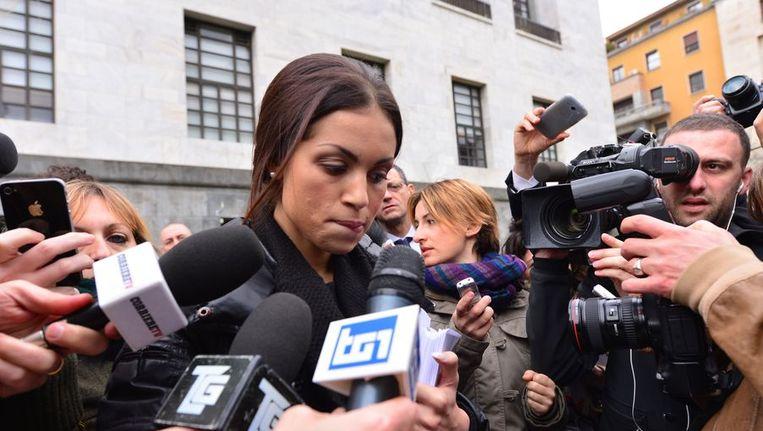 Karima 'Ruby' El-Mahroug voor de rechtbank in Milaan. Beeld afp