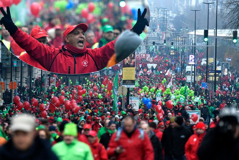 Archiefbeelden 2017: nationale betoging van de vakbonden tegen de pensioenhervorming van de regering Michel.