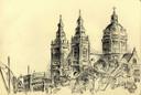 Krijtschets Jan Naaijkens uit Hilvarenbeek, Sint-Nicolaaskerk Amsterdam - 1943, zwart krijt 175 x 2.