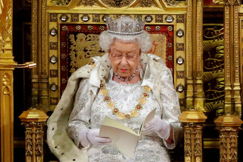 De Britse Queen tijdens haar troonrede.