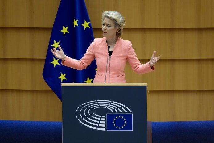 Commissievoorzitter Ursula Von Der Leyen tijdens haar State of the Union.