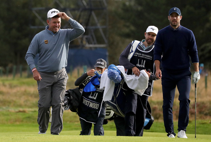 Lee Westwood (links) en Jamie Redknapp.