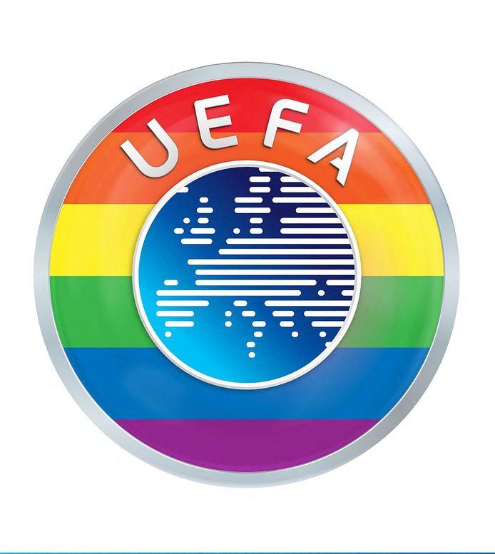 Het logo van UEFA met regenboogkleuren.
