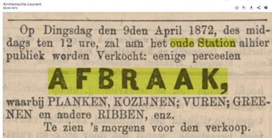 Advertentie waarmee de verkoop van de resten van Arnhems eerste station werd aangekondigd.