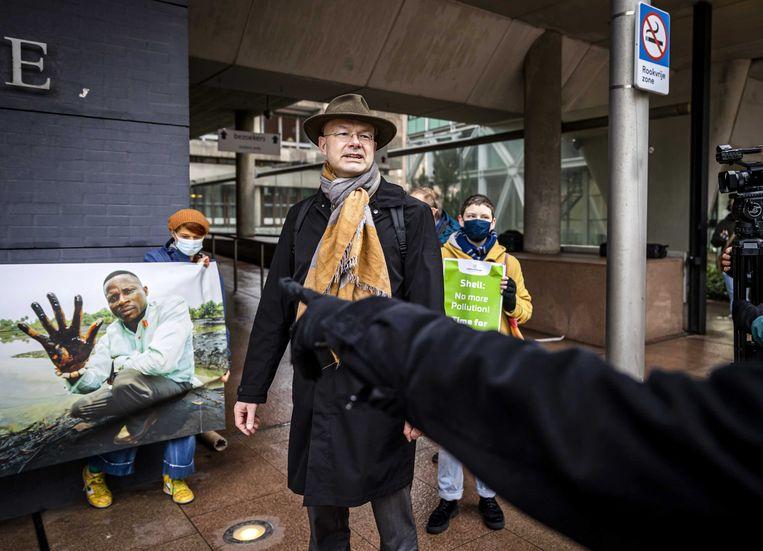 Milieudefensie-directeur Donald Pols, voorafgaand aan de uitspraak in de zaak tegen Shell.  Beeld ANP