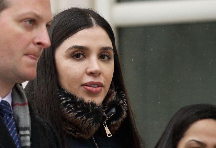 Emma Coronel, de vrouw van de Mexicaanse drugsbaron El Chapo, aan de rechtbank.