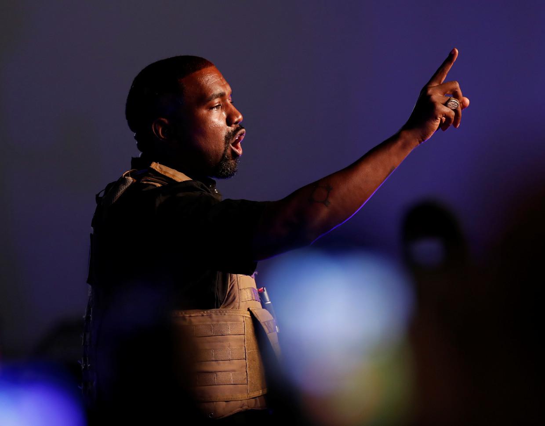 Kanye West spreekt in North Charleston, op 19 juli, zijn eerste campagnerally voor het presidentschap.  Beeld Reuters