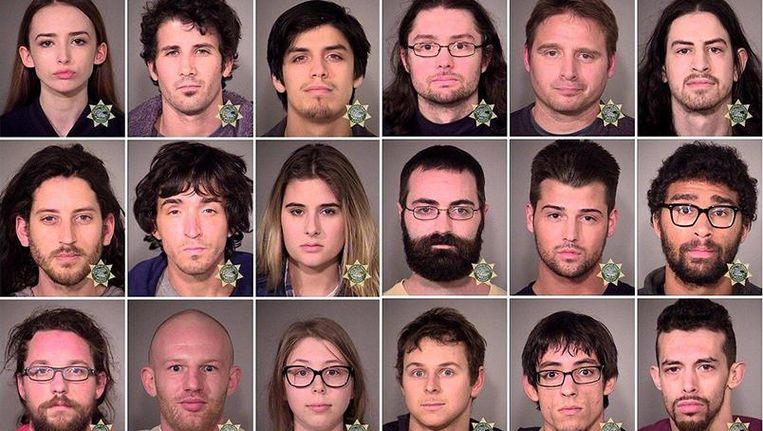 Aangehouden betogers in Portland