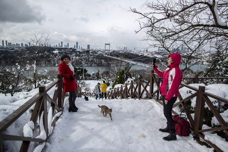Sneeuw in Istanbul. Beeld EPA