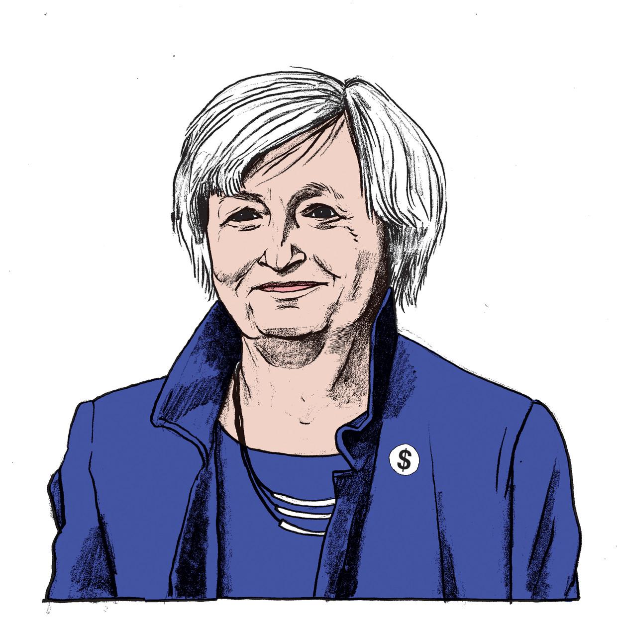 Janet Yellen wordt minister van Financiën onder het bewind van de nieuwe Amerikaanse president Joe Biden. Beeld Gijs Kast