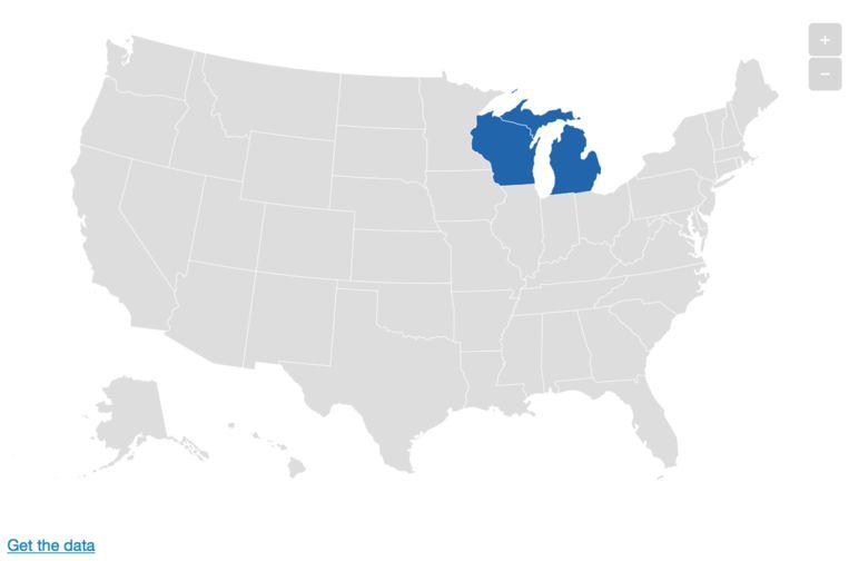 Michigan (links) en Wisconsin. Beeld De Morgen