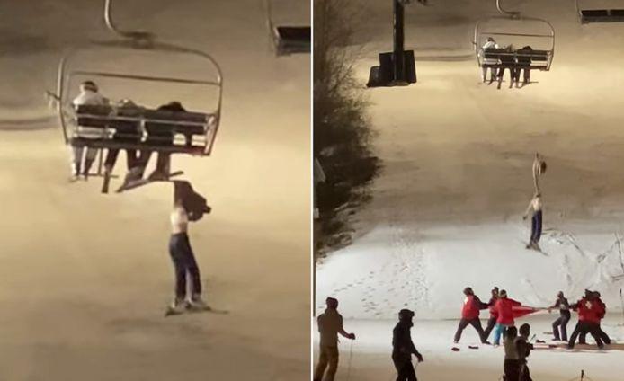 Heel wat wintersporters waren er getuige van hoe een meisje minutenlang met haar jas aan een zetellift bengelde