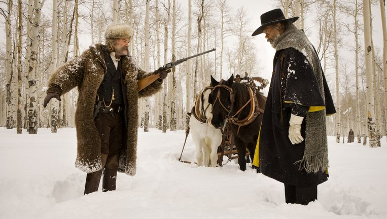 Kurt Russell en Samuel L. Jackson in 'The Hateful Eight'. Beeld rv
