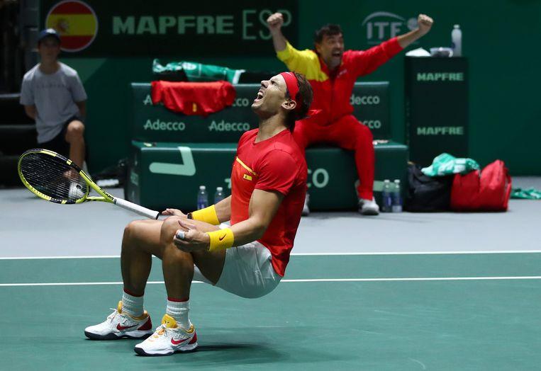 Rafael Nadal, na het laatste punt. Beeld Getty Images for LTA