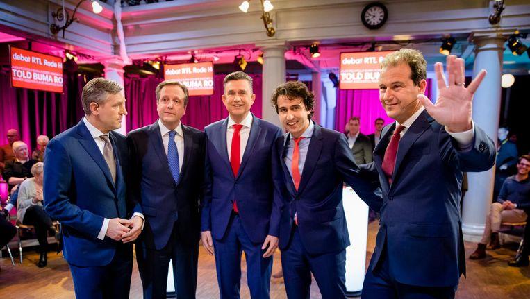 De lijsttrekkers voorafgaand aan het Rode Hoed-debat van RTL. Beeld null