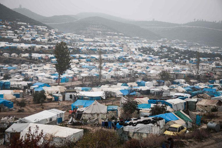 Een vluchtelingenkamp op de grens met Turkije.
