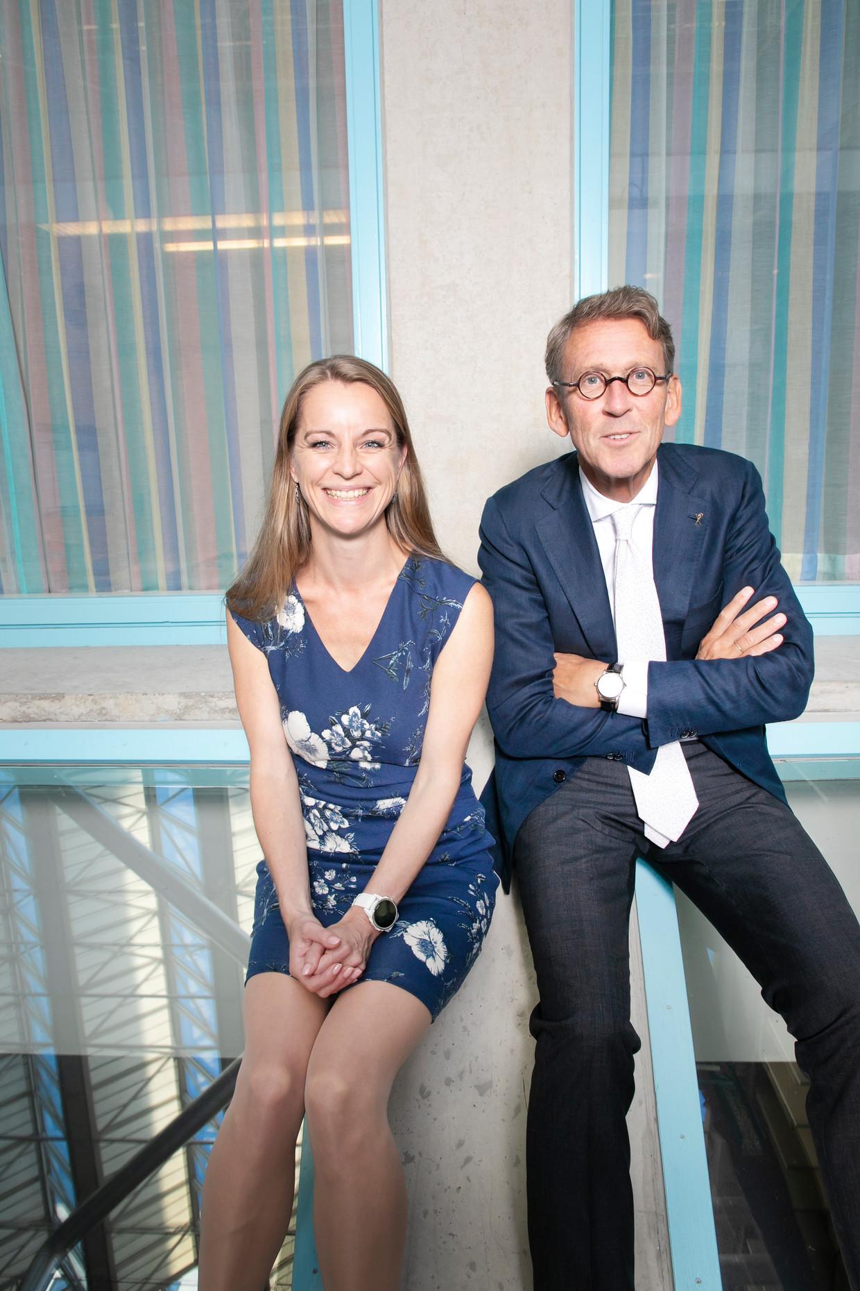 Jetske van der Schaar en Philip Scheltens in het VU Medisch Centrum, Amsterdam. Beeld Judith Jockel