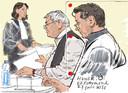 Tekening van de officier van justitie, verdachte K. en zijn advocaat Marijn Zuketto in de rechtbank.