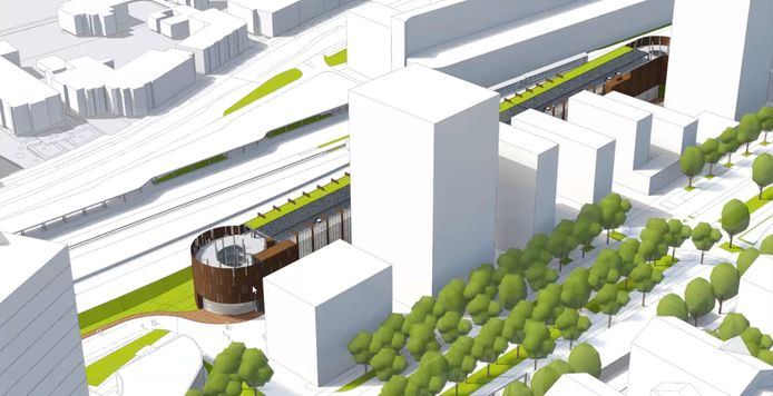 De parkeergarage Zwijsen (de langgerekte vorm achter de witte gebouwen) komt op het Zwijsenterrein parallel aan het spoor te staan. Achter de gebouwen die in de toekomst aan de Burgemeester Brokxlaan grenzen.