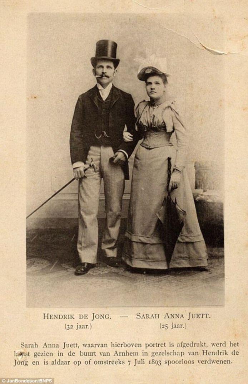 Hendrik de Jong en Sarah Anna Juett op hun huwelijksfoto.