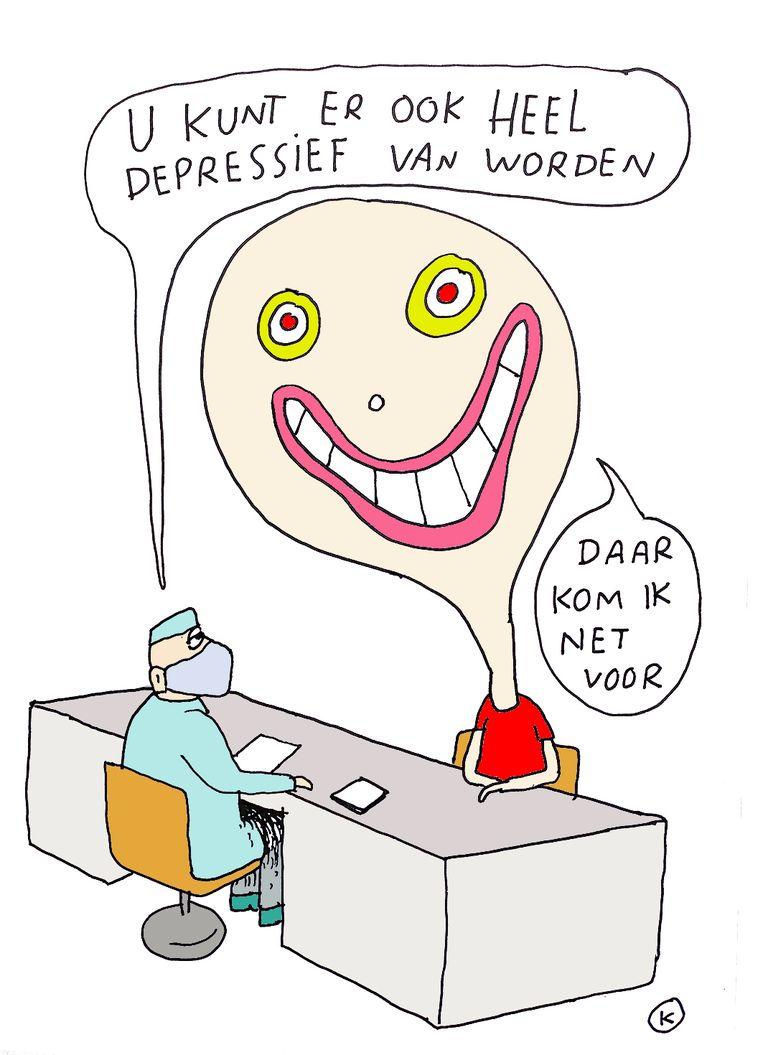 'In Nederlandse steden zijn er zelfs bezorgdiensten die na een whatsappje lachgas aan je voordeur komen leveren, alsof het een pizza is.' Beeld Kamagurka