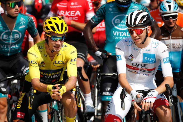 Primoz Roglic (links) en Tadej Pogacar gaan uitvechten wie het geel wint, in de Lezerstour zijn er meer kanshebbers op de eindzege.