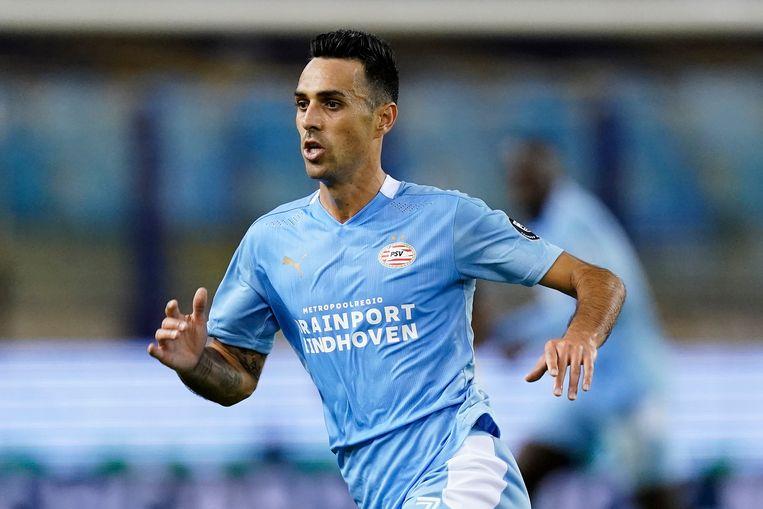 PSV'er Eran Zahavi tijdens de wedstrijd tegen Vitesse, afgelopen zondag. Beeld BSR Agency