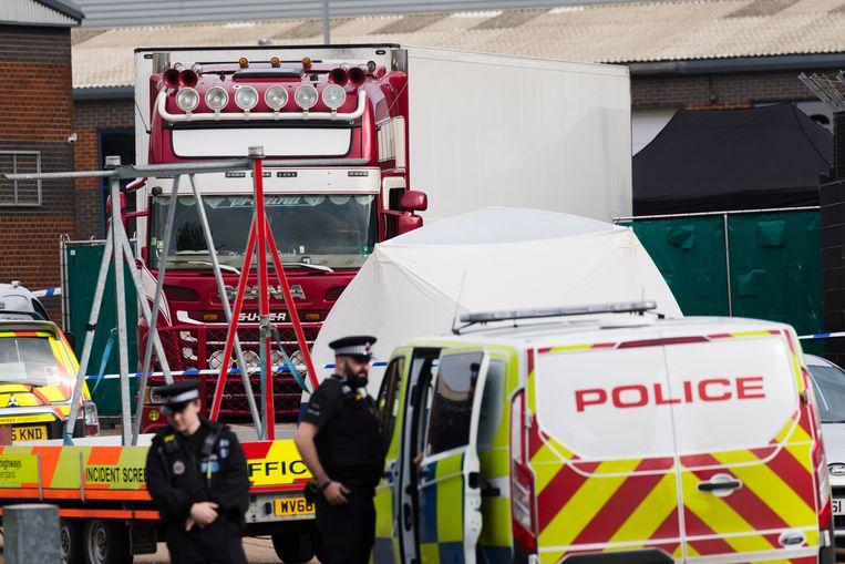 De vrachtwagen waarin de slachtoffers overleden, werd in 2019 ontdekt in Essex.  Beeld EPA