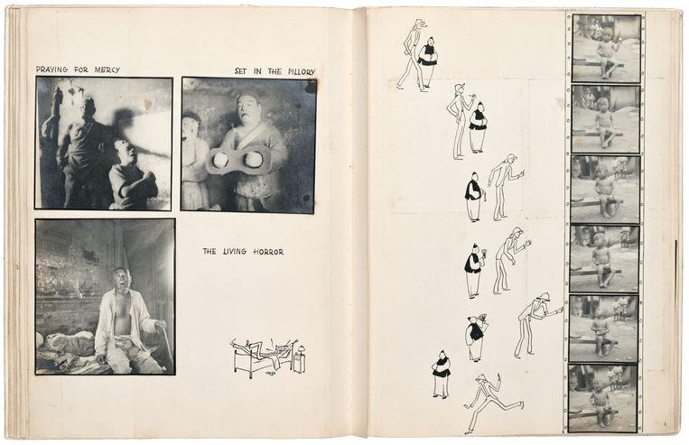 Twee pagina's uit de dummy China, Please Smile! uit 1933. Beeld Ellen Thorbecke / Friedrich Schiff / Nederlands Fotomuseum