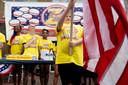 Ook bij de hamburgerwedstrijd klonk voor aanvang het nationale volkslied The Star-Spangled Banner.