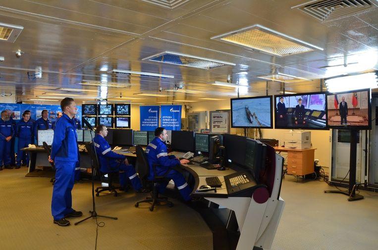 In de controlekamer tijdens de videoconferentie met president Poetin. Beeld Gazprom