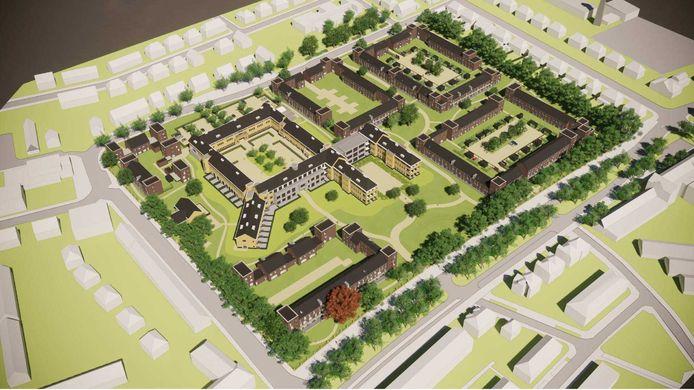 Impressie van de bebouwing die komt op het terrein van het vroegere Geertruidenziekenhuis.