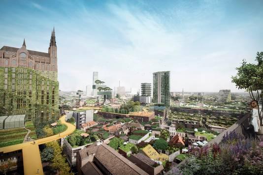 Het opliften van de Catharinakerk in Eindhoven (links) is een van de ideeën van Winy Maas. Onder de kerk denkt hij aan woningen.
