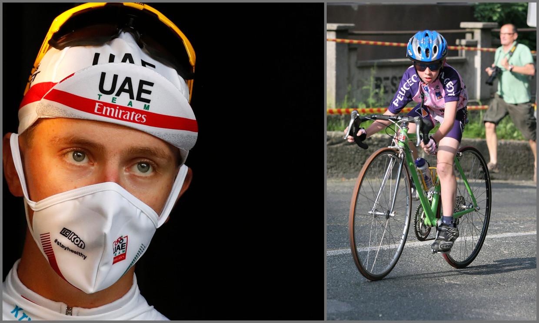 Tadej Pogacar, de op een na jongste Tourwinnaar ooit, begon ooit op 9-jarige leeftijd met een veel te grote fiets. Beeld AFP