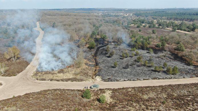 Een hectare aan natuur is verloren gegaan bij de brand.