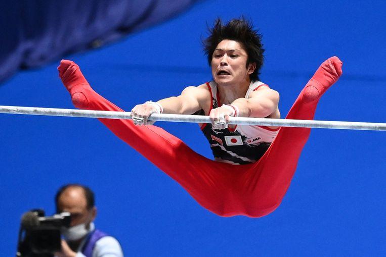 Kohei Uchimura in actie.  Beeld AFP