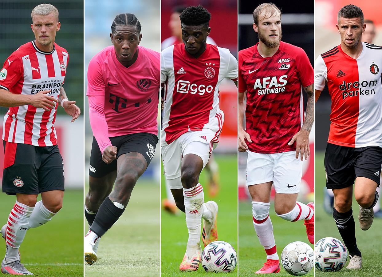 V.l.n.r.: Philipp Max (PSV), Eljero Elia (FC Utrecht), Mohammed Kudus, Timo Letschert (AZ) en Bryan Linssen (Feyenoord)