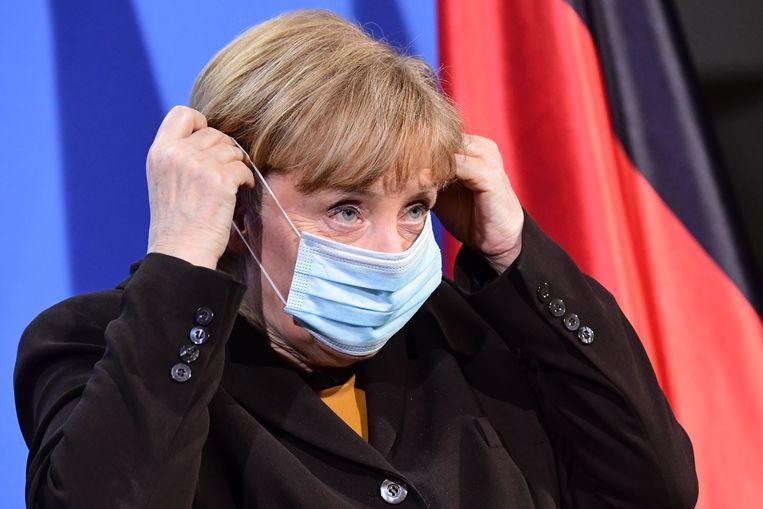 """De Duitse bondskanselier Angela Merkel sprak van """"een verplichte paasrust"""". Beeld EPA"""