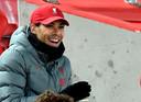 Virgil van Dijk op de tribune bij Liverpool.