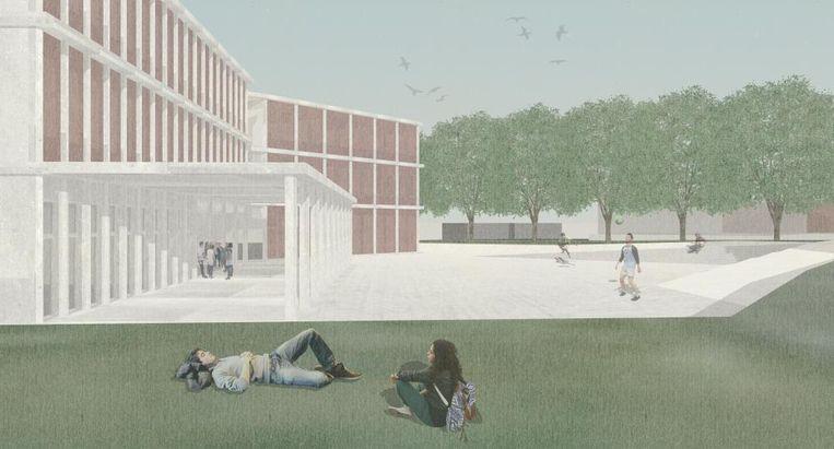 Een simulatie van het nieuwe schoolgebouw.