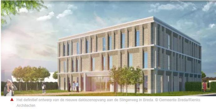 Ontwerp van de nieuwe dak- en thuislozenopvang de Doorstroomvoorziening in Breda.