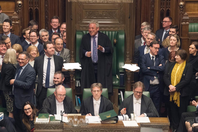 John Bercow (midden) zei maandag per 31 oktober op te stappen als voorzitter van het Lagerhuis. Beeld EPA